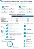 One Page Property Management Annual Report Sample Presentation Report Infographic PPT PDF Document