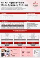 One Page Proposal For Political Website Designing And Development Report Infographic PPT PDF Document