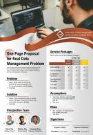 One Page Proposal For Real Data Management Problem Presentation Report Infographic PPT PDF Document