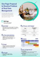 One Page Proposal To Resolve Problem Of Real Data Management Presentation Report Infographic PPT PDF Document