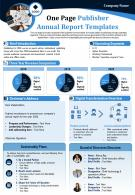 One Page Publisher Annual Report Templates Presentation Report Infographic PPT PDF Document