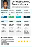 One Page Quarterly Employee Review Presentation Report Infographic PPT PDF Document