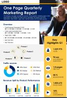 One Page Quarterly Marketing Report Presentation Report Infographic PPT PDF Document