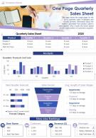 One Page Quarterly Sales Sheet Presentation Report Infographic PPT PDF Document