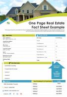 One Page Real Estate Fact Sheet Example Presentation Report Infographic PPT PDF Document