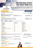 One Page Real Estate Fact Sheet Template Presentation Report Infographic PPT PDF Document