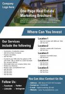 One Page Real Estate Marketing Brochure Presentation Report Infographic PPT PDF Document