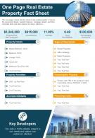 One Page Real Estate Property Fact Sheet Presentation Report Infographic PPT PDF Document