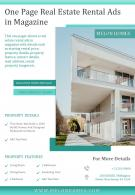 One Page Real Estate Rental Ads In Magazine Presentation Report Infographic PPT PDF Document