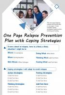One Page Relapse Prevention Plan With Coping Strategies Presentation Report Infographic PPT PDF Document