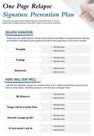 One Page Relapse Signature Prevention Plan Presentation Report Infographic PPT PDF Document