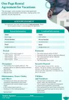 One Page Rental Agreement For Vacations Presentation Report Infographic PPT PDF Document