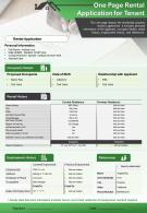 One Page Rental Application For Tenant Presentation Report Infographic PPT PDF Document