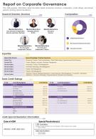One Page Report On Corporate Governance Presentation Report Infographic PPT PDF Document