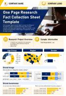 One Page Research Fact Collection Sheet Template Presentation Report PPT PDF Document