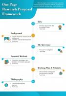 One Page Research Proposal Framework Presentation Report Infographic PPT PDF Document