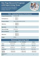 One Page Research Proposal With Supervising Team Presentation Report Infographic PPT PDF Document