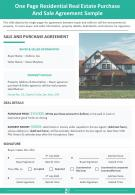 One Page Residential Real Estate Purchase And Sale Agreement Sample Report Infographic PPT PDF Document