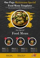 One Page Restaurant Special Food Menu Templates Presentation Report Infographic PPT PDF Document