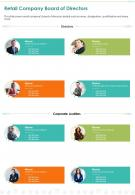 One Page Retail Company Board Of Directors Presentation Report Infographic PPT PDF Document