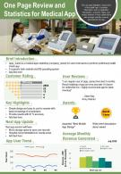 One Page Review And Statistics For Medical App Presentation Report Infographic PPT PDF Document