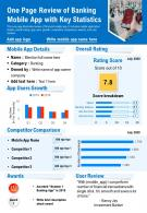One Page Review Of Banking Mobile App With Key Statistics Presentation Report Infographic PPT PDF Document