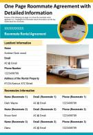 One Page Roommate Agreement With Detailed Information Presentation Report Infographic PPT PDF Document