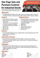One Page Sale And Purchase Contract For Industrial Goods Presentation Report Infographic PPT PDF Document