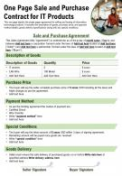 One Page Sale And Purchase Contract For It Products Presentation Report Infographic PPT PDF Document