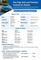 One Page Sale And Purchase Contract For Vehicle Presentation Report Infographic PPT PDF Document