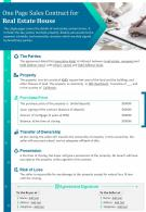 One Page Sales Contract For Real Estate House Presentation Report Infographic PPT PDF Document