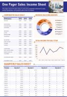 One Page Sales Income Sheet Presentation Report Infographic PPT PDF Document