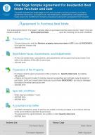One Page Sample Agreement For Residential Real Estate Purchase And Sale Report Infographic PPT PDF Document