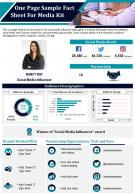 One Page Sample Fact Sheet For Media Kit Presentation Report Infographic PPT PDF Document