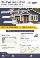 One Page Sample Fact Sheet House For Sale Presentation Report Infographic PPT PDF Document