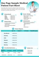 One Page Sample Medical Patient Fact Sheet Presentation Report Infographic PPT PDF Document