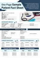 One Page Sample Patient Fact Sheet Presentation Report Infographic Ppt Pdf Document