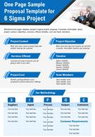 One Page Sample Proposal Template For 6 Sigma Project Presentation Report Infographic PPT PDF Document