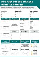 One Page Sample Strategy Guide For Business Presentation Report Infographic PPT PDF Document
