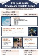 One Page School Newspaper Template Report Presentation Report Infographic PPT PDF Document