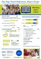 One Page School Performance Report Design Presentation Infographic PPT PDF Document