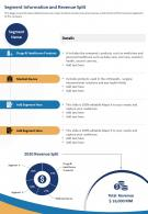 One Page Segment Information And Revenue Split Template 467 Report Infographic PPT PDF Document