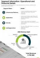 One Page Segment Information Operational And Financial Details Report Infographic PPT PDF Document
