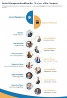One Page Senior Management And Board Of Directors Of The Company Infographic PPT PDF Document