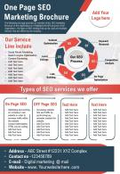 One Page SEO Marketing Brochure Presentation Report Infographic PPT PDF Document