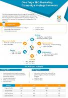 One Page SEO Marketing Campaign Strategy Summary Presentation Report Infographic PPT PDF Document