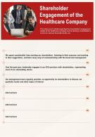 One Page Shareholder Engagement Of The Healthcare Company Report Infographic PPT PDF Document