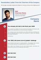 One Page Shareholders Letter From The Chairman Of The Company Template 114 Infographic PPT PDF Document