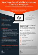 One Page Social Media Marketing Contract Template Presentation Report Infographic PPT PDF Document