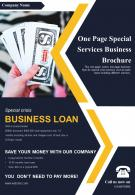 One Page Special Services Business Brochure Presentation Report Infographic PPT PDF Document